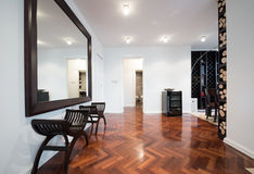 Interior espaçoso da antecâmara com grande espelho e paridade marrom brilhante Fotografia de Stock Royalty Free
