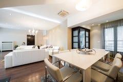 Interior espacioso de lujo del apartamento Fotografía de archivo libre de regalías