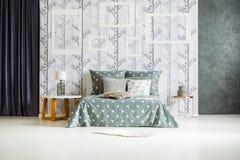 Interior espacioso del dormitorio con los marcos Fotos de archivo libres de regalías