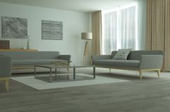 Interior espacioso moderno del salón o de la sala de estar Fotografía de archivo libre de regalías
