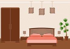 Interior espartano brutal del dormitorio del estilo con muebles libre illustration
