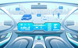Interior esperto autônomo do carro auto do carro que conduz na cidade na estrada A exposição mostra a informação sobre o veículo ilustração royalty free