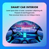 Interior esperto da cabina do piloto do carro Desenhos animados lisos do vetor ilustração do vetor