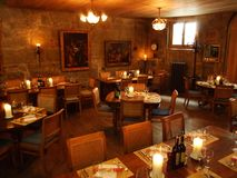 The interior of an ethnological restaurant in the city center of Bern stock images