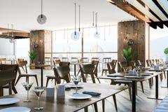 Interior of European restaurant stock illustration