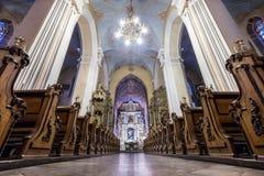 Interior europeu da igreja Fotos de Stock Royalty Free