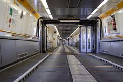 Interior of Eurotunnel train connecting the UK and France. A jo royalty free stock image