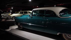 Interior and exhibits of Classic American Old cars in Heydar Aliev center.