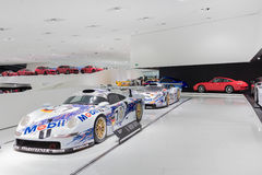 Interior Exhibits of Porsche Museum Racecars Stock Photo