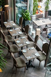 Interior and exterior of city cafe with autumn decorations Royalty Free Stock Photos