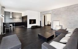Interior för Minimalismstilmottagning i black Royaltyfria Bilder