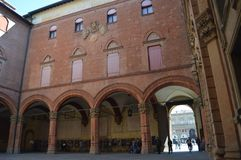 Interior Facade And Courtyard Of The Communal Palace In Piazza Maggiore In Bologna. Bologna Travel, holidays, architecture. March stock photos