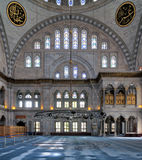 Interior facade of Nuruosmaniye Mosque, an Ottoman Baroque style mosque completed in 1755 and located in Istanbul, Turkey royalty free stock image