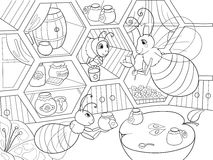 Interior and family life of bees in the house coloring for children cartoon vector illustration. Apiary honey bee house. Zentangle style. Black and white stock illustration