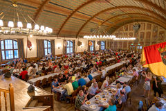 Interior of famous Hofbrauhaus - Munich, Germany Royalty Free Stock Photography