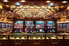 Interior of the famous Neiliansheng shoe shop on the tradtitonal Dashilian Commercial Street, Beijing Stock Photo