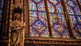 Interior Famous Saint Chapelle, Details Of Beautiful Glass Mosaic Windows stock images
