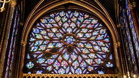 Interior Famous Saint Chapelle, Details Of Beautiful Glass Mosaic Windows royalty free stock photo