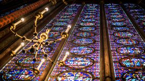 Interior Famous Saint Chapelle, Details Of Beautiful Glass Mosaic Windows royalty free stock image