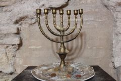 Menorah in the synagogue of Cordoba, Spain. Jewry, detail. Interior of the famous synagogue located in the Jewish Quarter of Cordoba, Andalusia, Spain. One of Stock Image