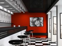 Interior of fashionable bar. With cafeteria chairs royalty free stock photo