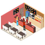 Interior Fast Food Restaurant Isometric View. Vector. Interior Fast Food Restaurant or Cafe Bar Isometric View Menu Fastfood Inside Building People, Table and royalty free illustration