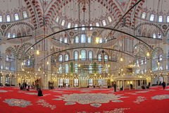 Interior of Fatih Mosque in Istanbul, Turkey Royalty Free Stock Photos