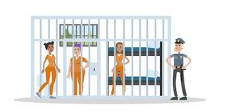 Interior femenino de la prisión libre illustration