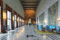 Interior of Festival Gallery in Oslo City Hall, Norway Stock Images