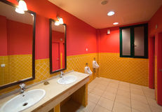 Interior of with few sinks. Interior of toilet with few sinks in restaurant stock photos
