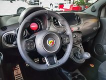 Interior of Fiat 500 Abarth royalty free stock photo