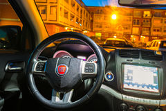 Interior of Fiat Freemont SUV car stock photography