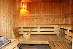 Interior finlandés de la sauna. Foto de archivo