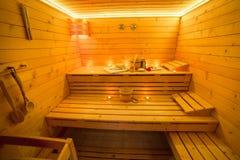 Interior finlandés de la sauna Foto de archivo libre de regalías