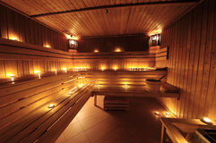 Interior finlandês da sauna fotos de stock royalty free