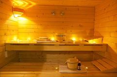 Interior of a finnish sauna. And details Stock Image