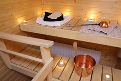 Interior of a Finnish sauna Royalty Free Stock Photos