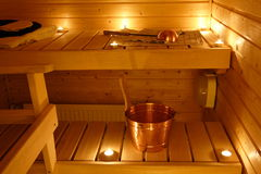 Interior of a Finnish sauna Stock Photos