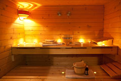 Interior of a Finnish sauna. And sauna accessories Stock Photography