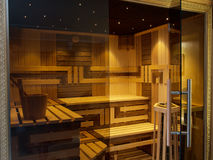 Interior of Finnish Sauna. Stock Photography