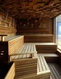 Interior of Finnish sauna stock images