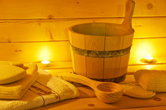 Interior of finnish sauna and sauna accessories Royalty Free Stock Image