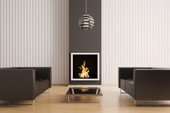Interior with fireplace 3d. Interior with fireplace and two black sofas 3d render Stock Photo