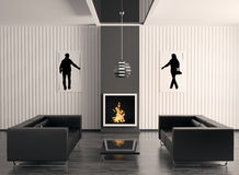 Interior with fireplace 3d render. Interior with fireplace and two black sofas 3d render Stock Image