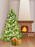 Interior fireplace Christmas tree gift box. Christmas Interior with fir tree, brick fireplace and gift boxes. Vector realistic illustration. Background for xmas Royalty Free Stock Image