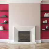 Interior with fireplace. Royalty Free Stock Photography