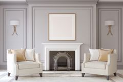 Interior with fireplace. 3d render. Interior with fireplace in neoclassic style. Frame mock-up. 3d render Royalty Free Stock Image