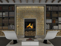 Interior with fireplace Royalty Free Stock Photography