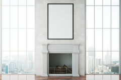 Interior with fireplace. Front view of bright room with fireplace, blank picture frame and city view. Mock up, 3D Rendering Royalty Free Stock Photos