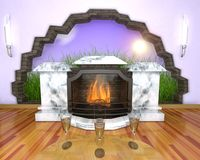 Interior with fireplace. Marble fireplace with a fire inside, in the room, and opening in a wall Royalty Free Stock Images